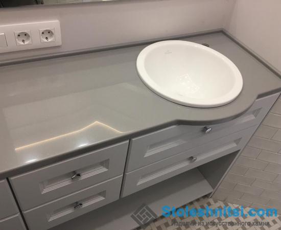 Столешница для ванной с белой мойкой