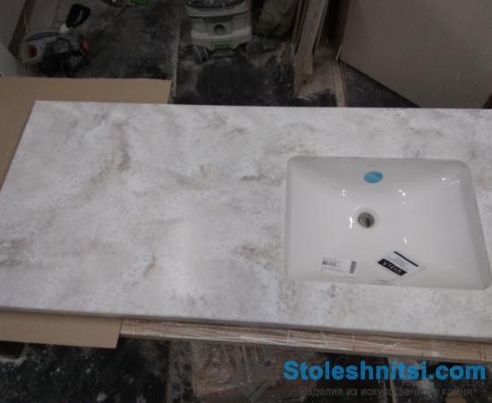 Серая столешница для ванной из камня